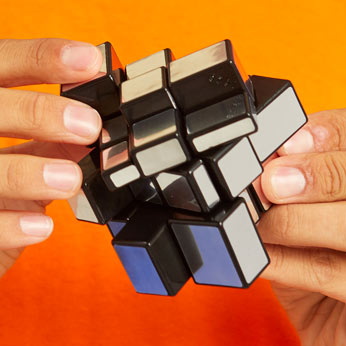 Rubiks's mirror block in hands