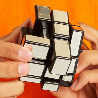 Rubik's mirror block in hands