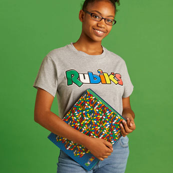 Girl modelling Rubik's folder in blue