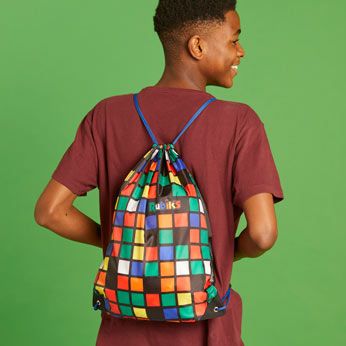 Rubik's drawstring bag modelled on young teenager