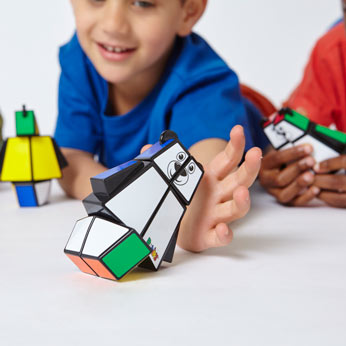 Rubiks's Bear in boy's hands